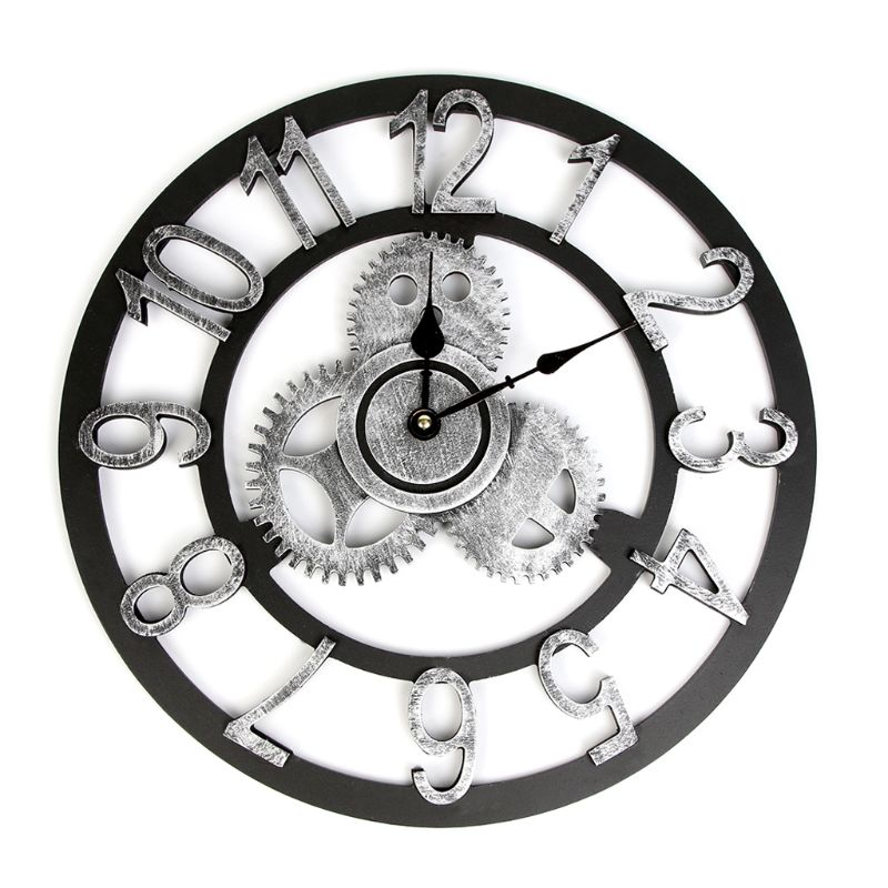 3d Retro Rustic Vintage Wooden Noiseless Steampunk Gear Wall Clock