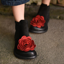 Original design handmade big flower genuine leather women boots national trend vintage chelsea cowhide boots women shoes 0886