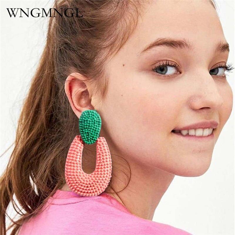WNGMNGL 2018 Hot sale Bohemia Hollow Water Drop Alloy Chic Contrast Earrings For Women Charm Statement Fashion Pendant Jewelry