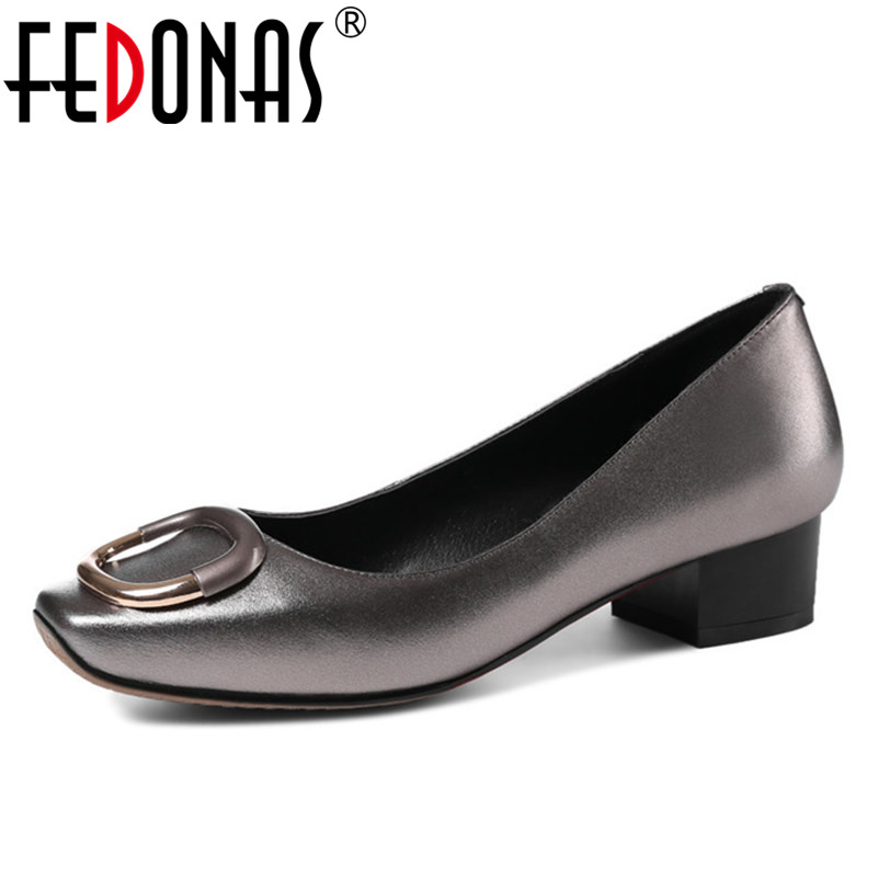 FEDONAS 2018 Brand Women Low Heels Comfort Pumps Sexy Square Toe Party Genuine Leather Shoes Woman Spring Wedding Office Pumps