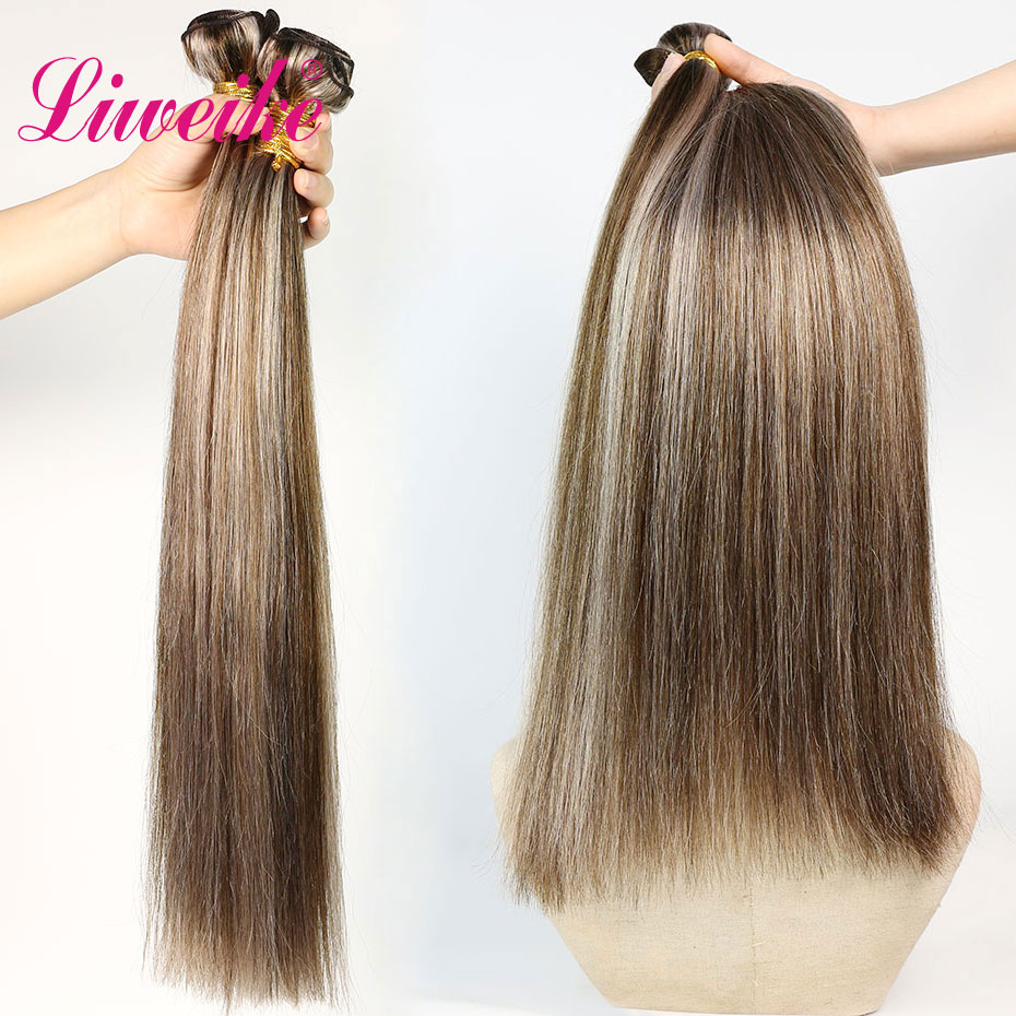 Liweike Color P4/18 Straight Brazilian 1 Single <font><b>Bundle</b></font> 100% Human Hair 18 20 <font><b>22</b></font> <font><b>Inch</b></font> Silky Extensions Double Weft Remy <font><b>Bundles</b></font> image