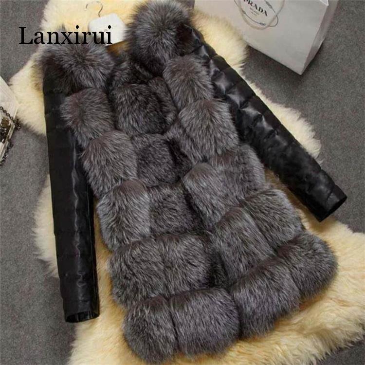 New High Quality High Imitation Silver Fox Fur Coat PU Sleeves Warm Winter Coat Fox Coat Big Yards Overcoat