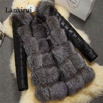 цена New High Quality High Imitation Silver Fox Fur Coat PU Sleeves Warm Winter Coat Fox Coat Big Yards Overcoat онлайн в 2017 году