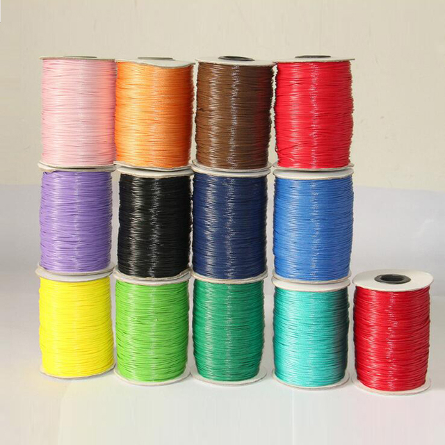 2016 New 1.0MM 1.5MM 2MM 150m Waxed Thread Cotton Cord String Strap Wholesale Necklace Rope Bead Fit DIY Bracelet