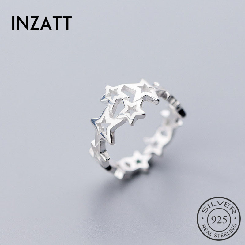 INZATT Real 925 Sterling Silver Hollow Stackable Star Ring For Charming Women Wedding Cute Accessories Fine Jewelry Gift 2019