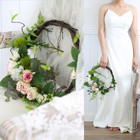 Jonnafe Artificial Flower Greenery Bouquets Wedding Accessories Decoration Bridal Hand tied Bouquet