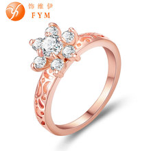 New Hollow Out Ring Rose Gold Color Zircon Austrian Crystal Fashion Women Finger Rings for Party Gift Wedding Girlfriend new luxury plant ring rose gold color zircon crystal fashion women cocktail finger rings for party gift wedding girls