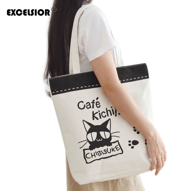 21c77f9b333bb Famous Brands Women Handbag Fashion Ladies Large Bags Cat Printed Canvas  Casual one Shoulder Tote Bag