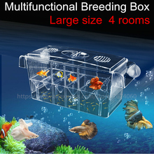 4 Rooms High Clear Fish Breeding Box Aquarium Breeder Box Double Guppies Hatching Incubator Isolation Acrylic AT002