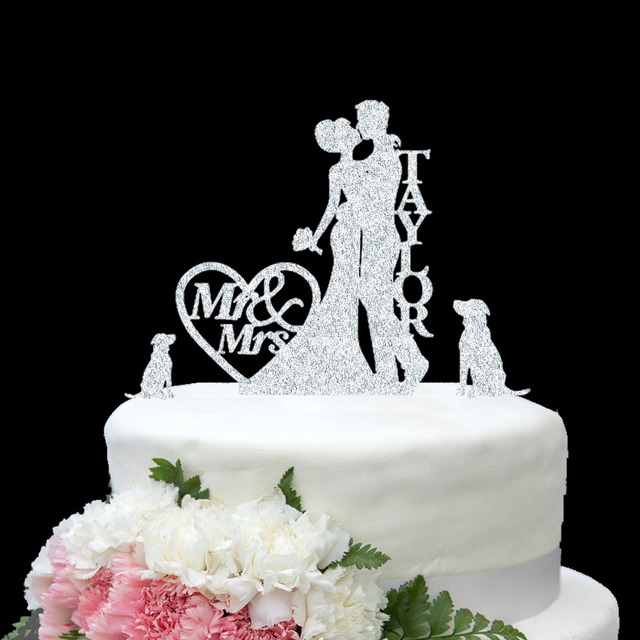 Personalize Name Gold Silver Wedding Cake Topper Mr Mrs Wedding