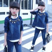 купить Girls Denim Clothing Sets 2018 Spring Autumn Children Long Sleeve Coat + Blouse +Pants 3 pcs suit Kids Girls Outfits 4-13 Age по цене 2552.49 рублей