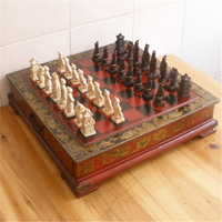 Hot Collectibles Vintage Chinese Terracotta Warriors 32 Chess Set Amp Leather Wood Box Flower Bird Table