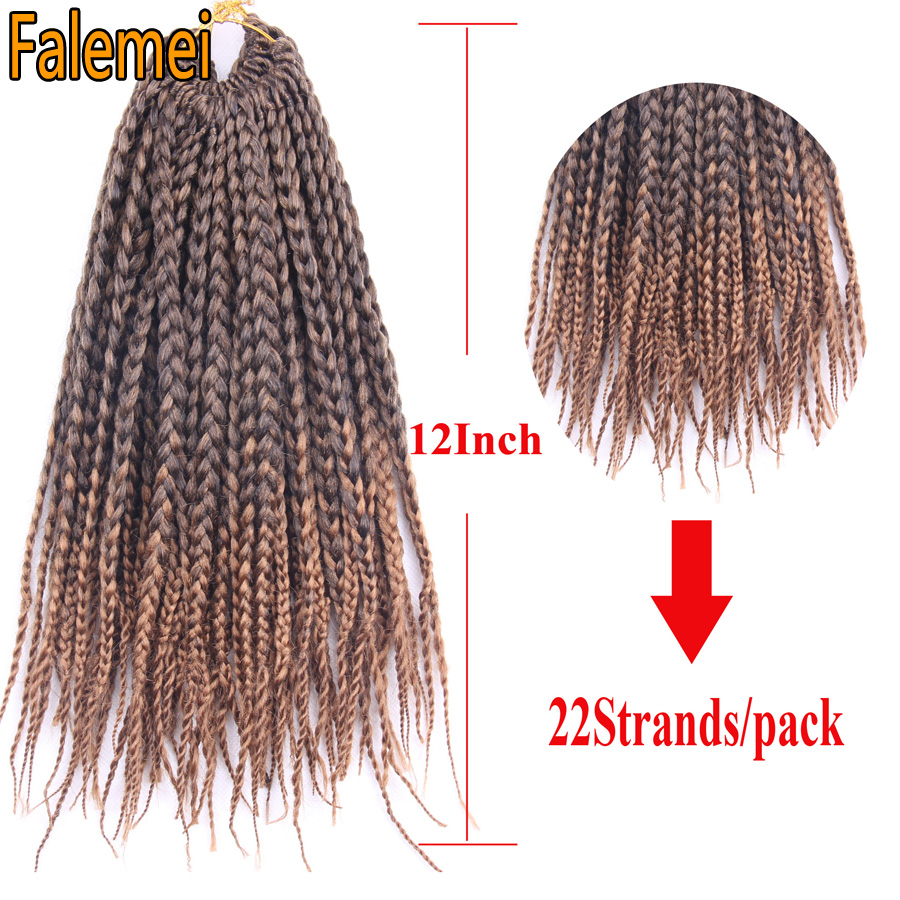 Falemei 12inch Ombre Box Braids Crochet Braids Hair Extensions With