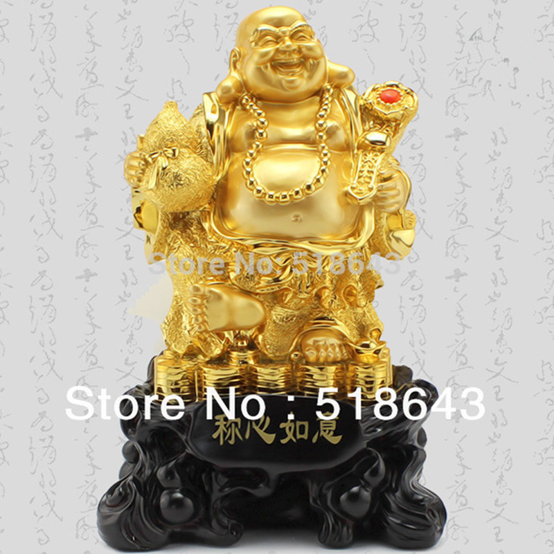 Good luck Gold plated smiling Buddha maitreya Buddha furnishing articles opening moved into high end gifts home decoration