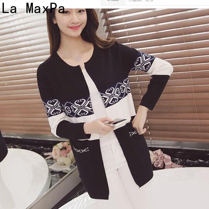 2a8675df9f1 Купить LA MAXPA 2018 новый осенний женский свитер кардиганы Повседневный  теплый длинный дизайн Женский вязаный свитер с принтом кардиган свитер Цена  Дешево.