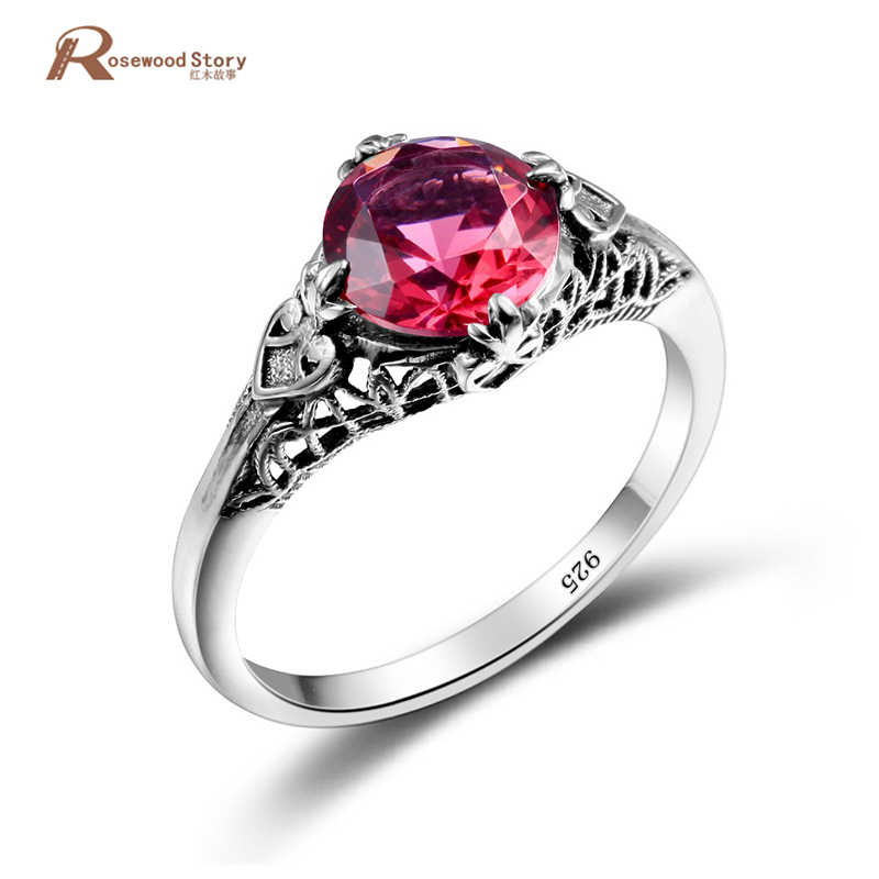 Ancient Roman Rings Antique Round Engrave Created Ruby Stone Ring Pure 925  Sterling Silver Vintage Jewelry Wedding Accessories