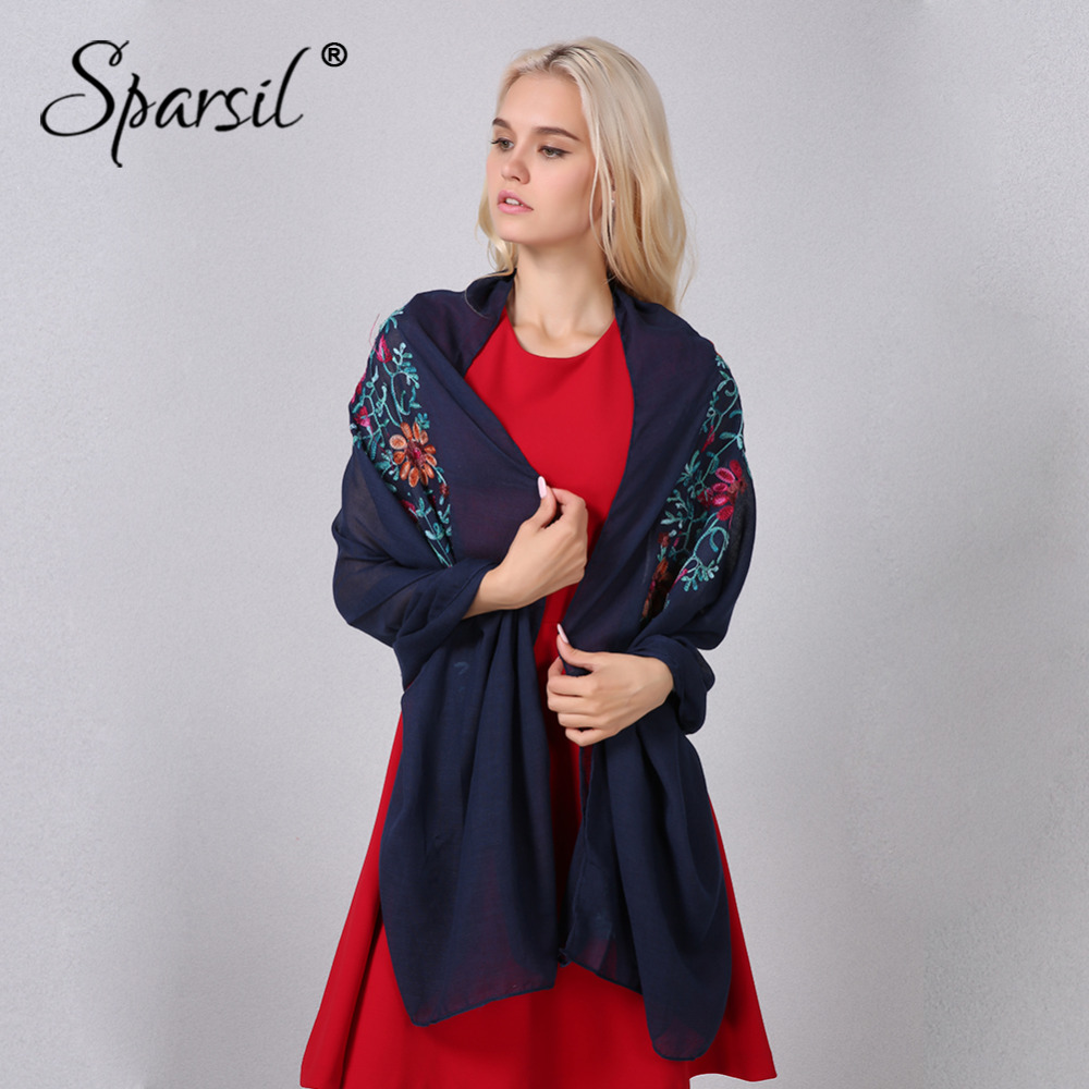 Sparsil Women Cotton Linen Embroidery   Scarves   Summer Spring Flowers Shawls Basic All match Pashmina Hijab   Scarf   Ladies   Wraps