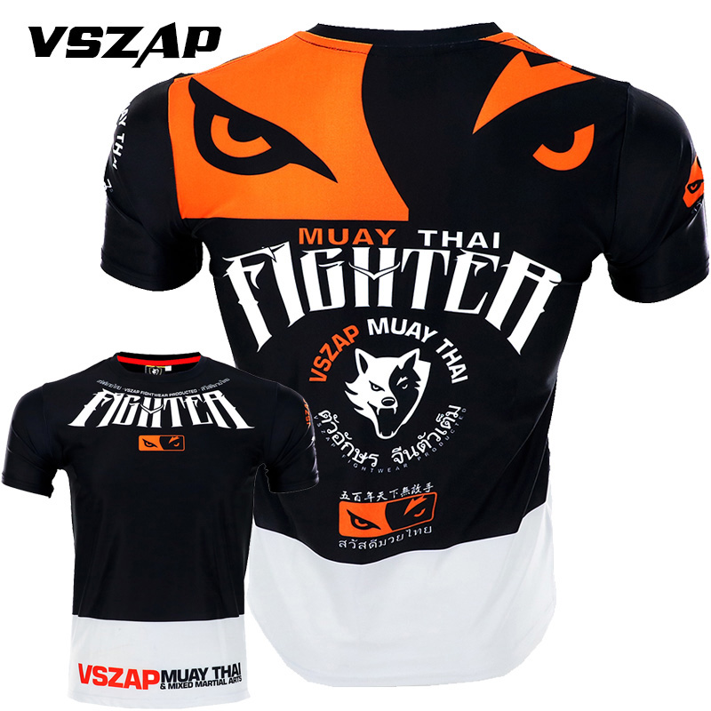 VSZAP Quick-drying Mesh Boxing MMA T Shirt Gym Fighting Martial Arts Fitness Training Muay Thai Jersey