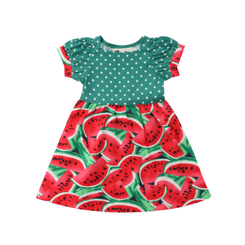 967e1bd9c Bebé recién nacido lindo vestido niñas sandía puntos Mini vestidos Infantil  Niño niña fiesta de cumpleaños