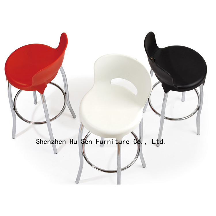 Modern Bar Stool PP plastic bar chairs colored creative fashion furniture Outdoor Highchairs - Shenzhen Hu Sen Furniture Co., Ltd. store
