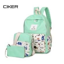 CIKER Fashion canvas backpack women famous brand animal printing backpacks for teenage girls school bags mochilas 3pcs/set bags