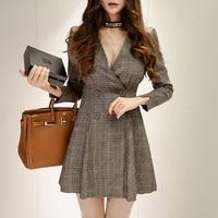 Aihuyigui 2019 spring vintage korea plaid small dress women v neck double breasted OL style mini pleated dress dr347