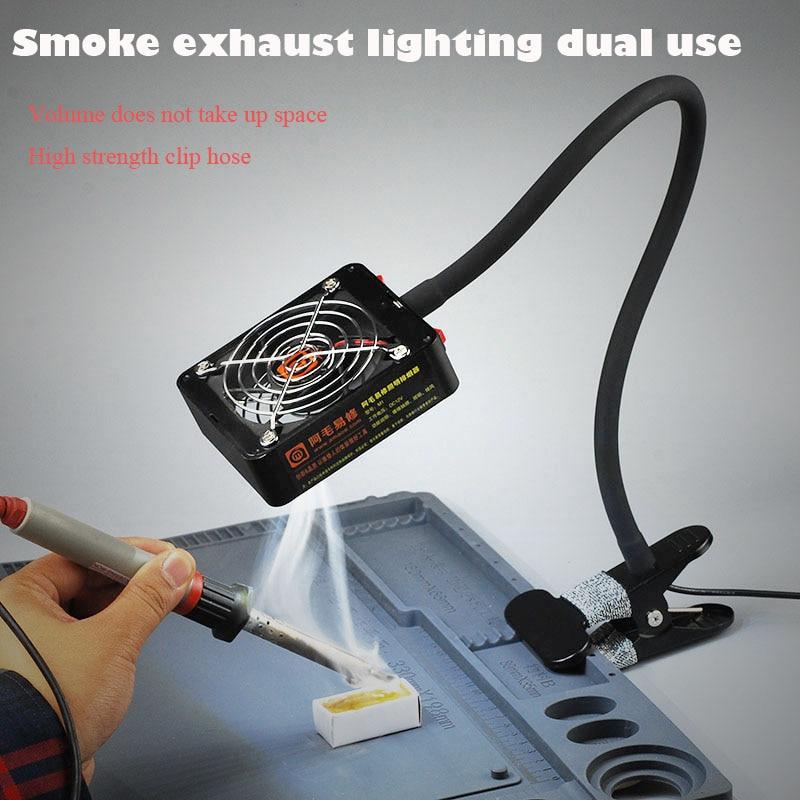 mobile phone maintenance smoke lighting dual-purpose smoke extractor, a clip type of smoking machine and alighting exhaust fan