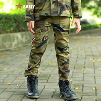 Boys Cotton Pants Outdoor Miltary Style Boys Cargo Pants Overalls Army Green Embroidered Long Trousers KN