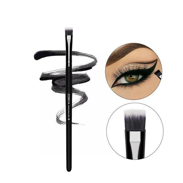 Maquillaje brochas herramienta negro tubo de madera Nylon delineador de ojos cepillo uso para colorete ceja corrector de labios herramienta Q1