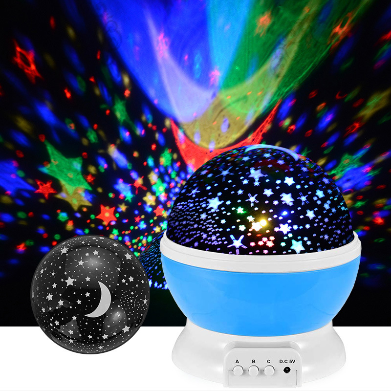 Novelty Projector Moon Night Light LED Rotary Flashing Starry Sky Star Projector Lamp Indoor Decor Christmas Gift For Baby Kids