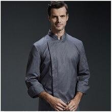 Униформа для отеля, Профессиональная форма шеф-повара для ресторана, кухни, серая куртка шеф-повара, одежда для приготовления пищи с длинным рукавом