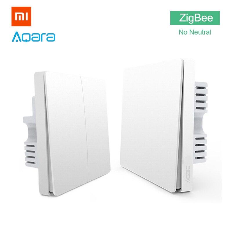 Xiaomi Aqara Interrupteur ZigBee Pas Neutre Version Unique Double Bouton Clé Maison Intelligente pour MiHome APP MIJIA Passerelle Hub mise à niveau
