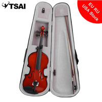 TSAI Professional 4 4 Full Size Solid Wood Acoustic Violin Fiddle With Protect Case Bag Bow