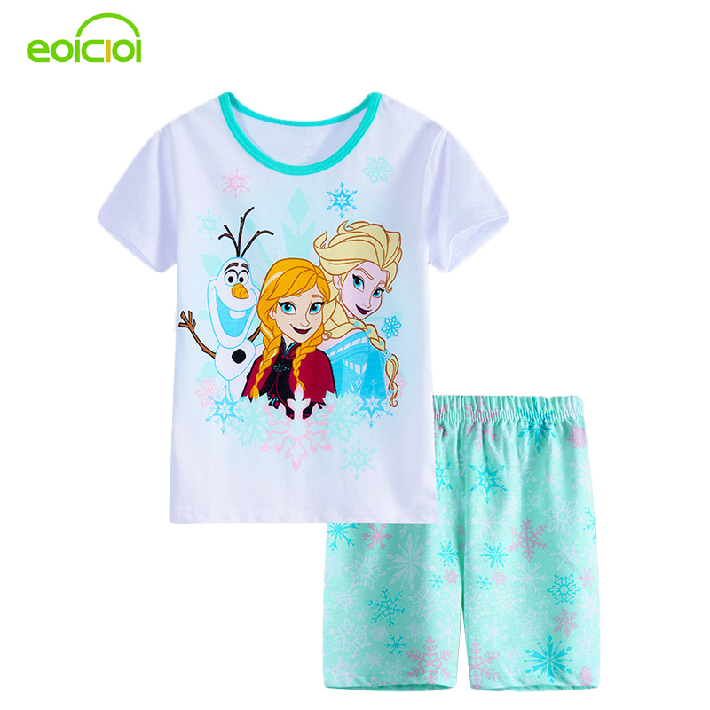 New Summer Cartoon Suits Girls Pajamas Baby Printed Pijamas Sets Cotton Children's Clothing Kids Sleepwears Pyjamas Girls Boy