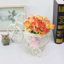 Искусственный цветок в горшках ваза из ротанга + цветы метров весенние пейзажи пластик велосипед цветок набор дома Свадебная вечеринка украшения