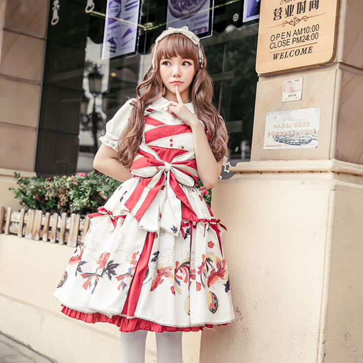 2017 New JSK Lolita Dress Goldfish Floral Printed Cute Princess Bow-Knot Vintage Tassel Dresses Cosplay Costumes