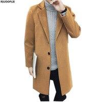 RIUOOPLIE 남성 패션 캐주얼 긴 신사 모직 외투 바람 따뜻한 코트 재킷