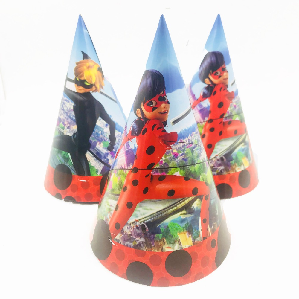 6pcs Set Miraculous Ladybug Cap For Kids Happy Birthday Party Decoration Kid Girls Supplies Favors In Hats From Home Garden