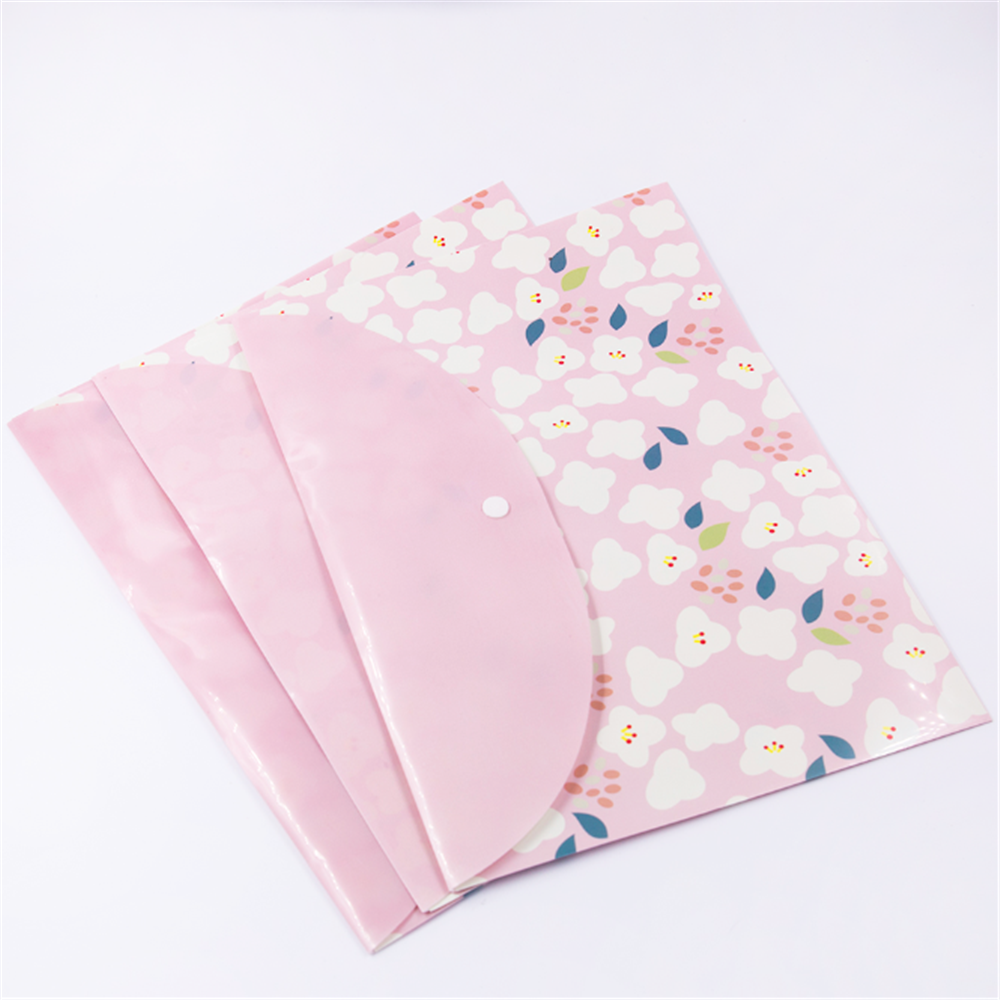 2pcs A4 File Bag Button Closure Folder Bag Kawaii Office School Document Folder Large Capacity Storage Bag Simple Style Flowers