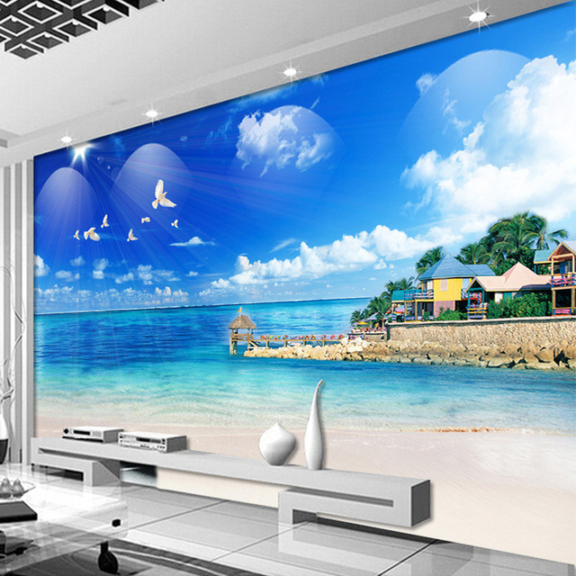maldives paysage mur murale personnalis e taille 3d peintures murales de papier peint pour salon. Black Bedroom Furniture Sets. Home Design Ideas