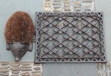 Decorative Cast Iron Boot Brush and Scraper Shoe Cleaner Hedgehog Animal Attractive Scroll Design Shabby Vintage Door Mat