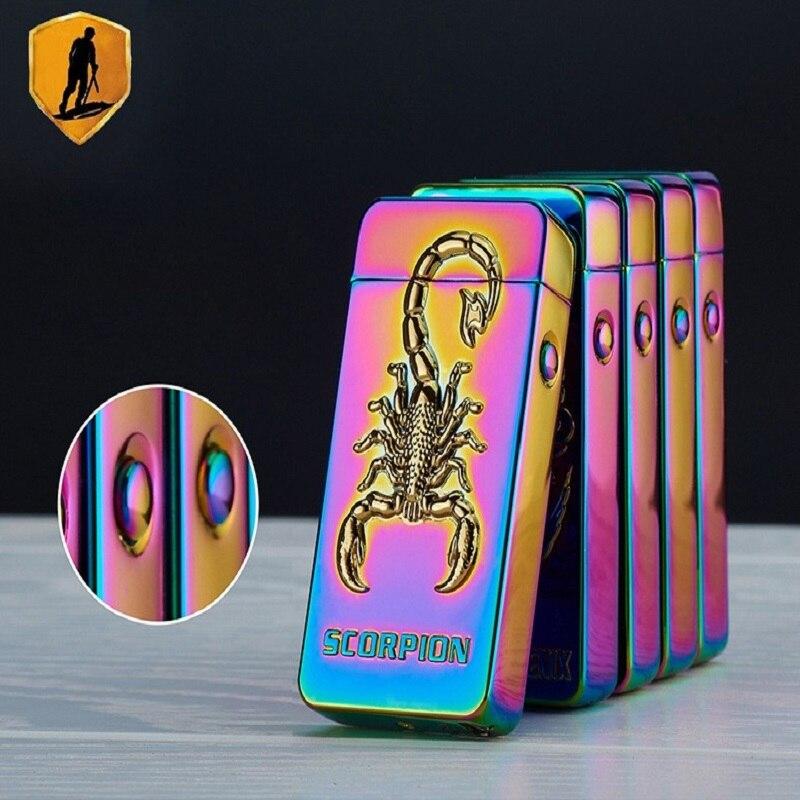 Scorpion 3D Pattern Lighter Pulse Double Arc Cigarette Lighter USB Charging for Men