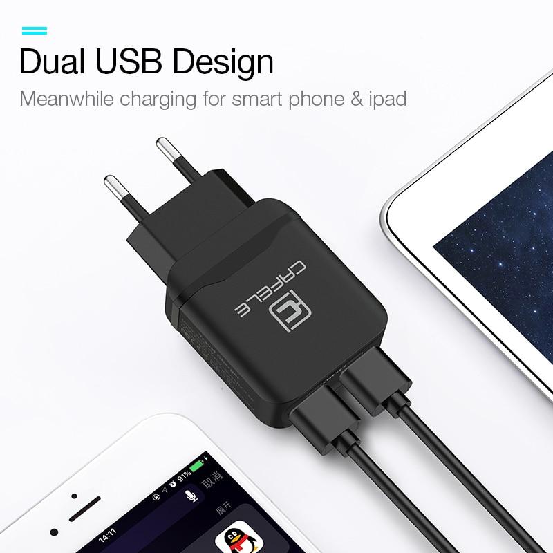 CAFELE Travel USB UE Ładowarka Wtyczka 2.4A Podwójne wyjście - Części i akcesoria do telefonów komórkowych i smartfonów - Zdjęcie 6