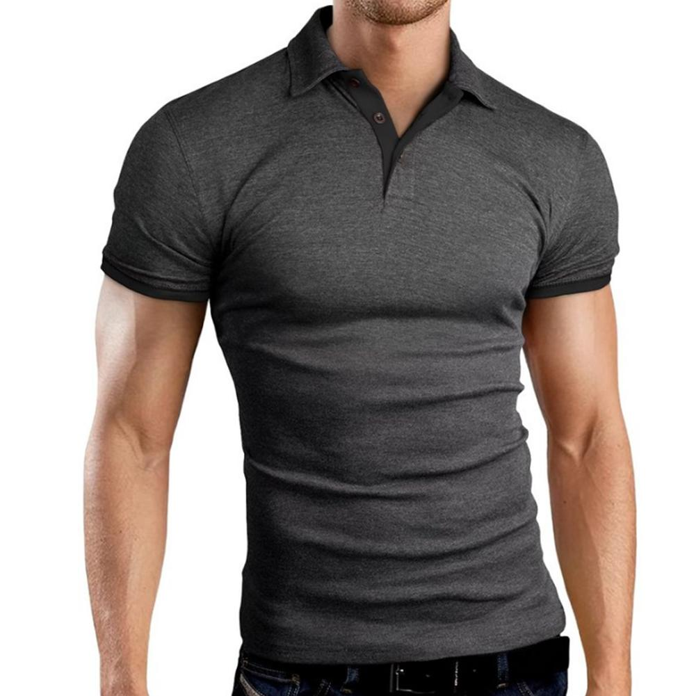 Men   Polo   Shirt Fashion Summer Slimy   Polo   Shirt Tees Solid Color Turn-down Collar Casual Short Sleeve Top