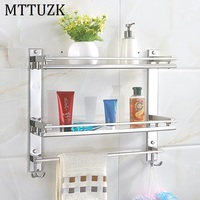 Vidric DIY Bathroom Shelves 304 Stainless Steel Double Layer Washing Machine Single Towel Rack Cosmetic Rack Bathroom Accessorie