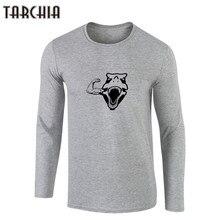 TARCHIIA Men T Shirts Long Sleeve Dog Animal Printing Male Clothing High Quality Cotton Men's T Shirt 2018 New Male Tees Tops
