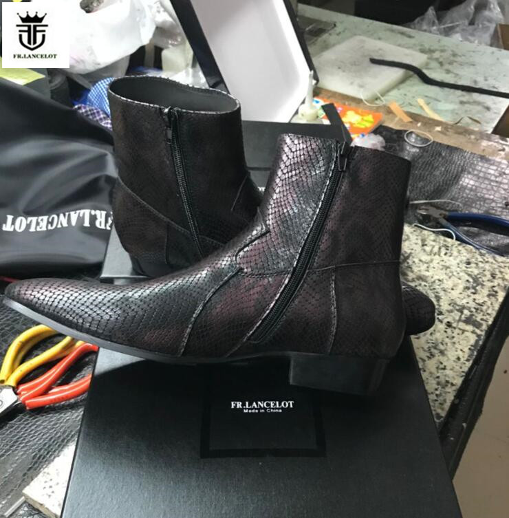 FR.LANCELOT 2018 new Ankle Boots High end snakeskin print leather boot Vintage Style Men Short Boots zip up mix color men boots stand collar zip up 3d color block butterfly print jacket