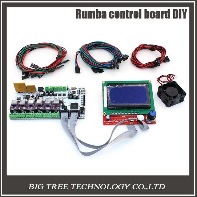 Biqu rumba control board diy + pantalla lcd 12864 controlador + cable de puente + conductor del motor de pasos drv8825 para reprap 3d impresora