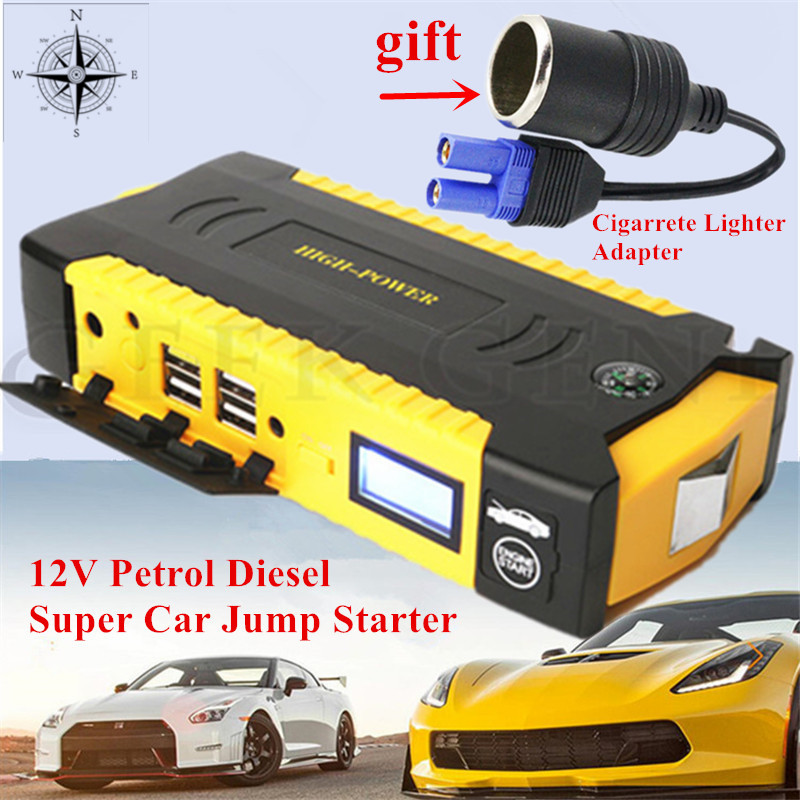 Mulit-Function 16000mAh Car Jump Starter Power Bank 12V Petrol Diesel Car Battery Charger 600A Vehicel Starting Device SOS Light 2017 hot high capacity 12v petrol diesel car jump starter 600a peak car battery charger mini 4usb power bank sos light free ship