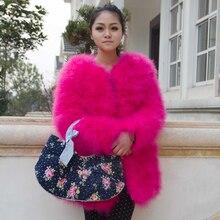 Новинка, Женское пальто с натуральным мехом, длинный стиль, натуральный мех страуса, зимняя теплая куртка, модная, высшее качество